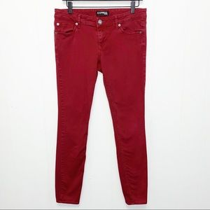 Express Dark Red Skinny Leg Jeans